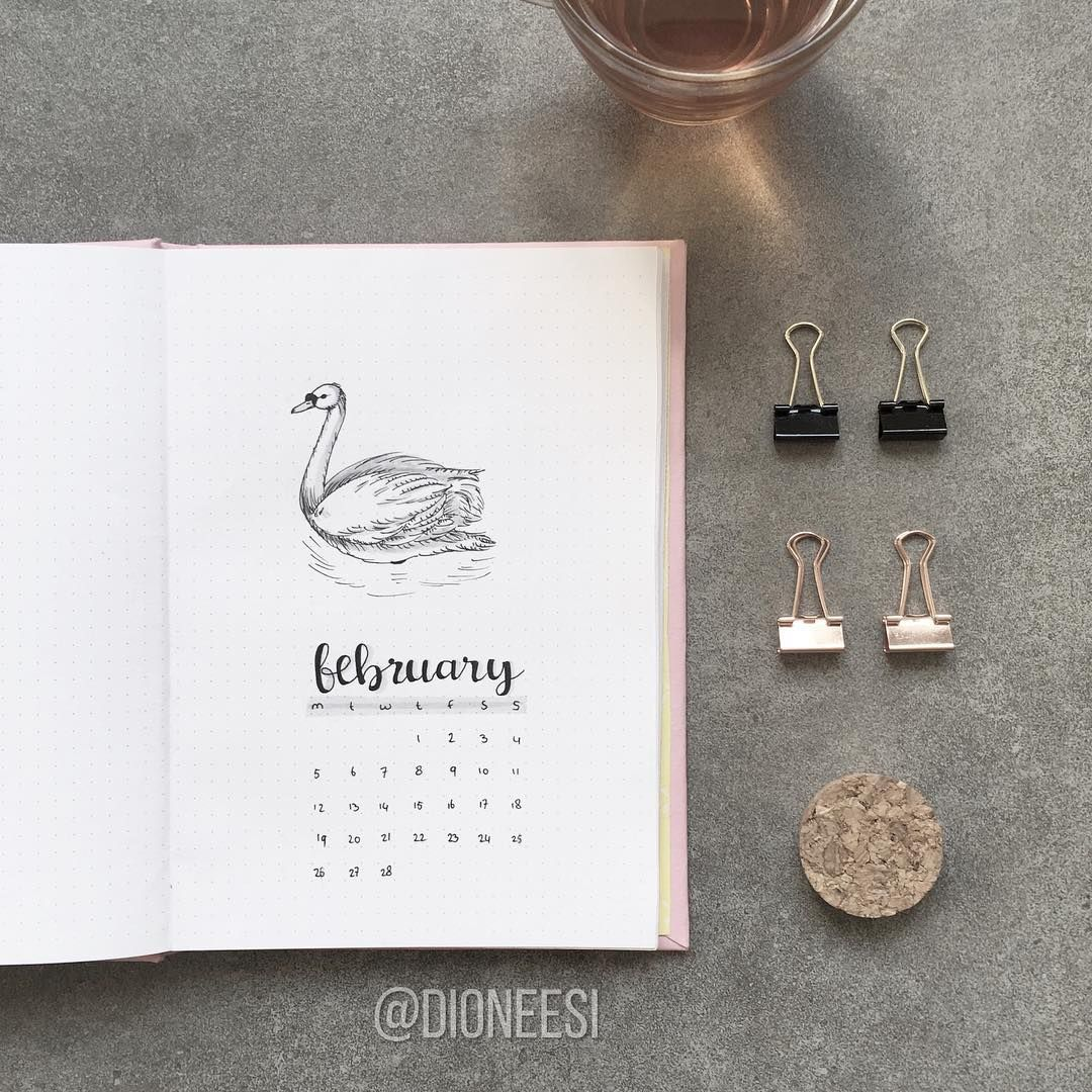 Bullet journal monthly cover page, February cover page, swan drawing. | @dioneesi #septemberbulletjournalcover