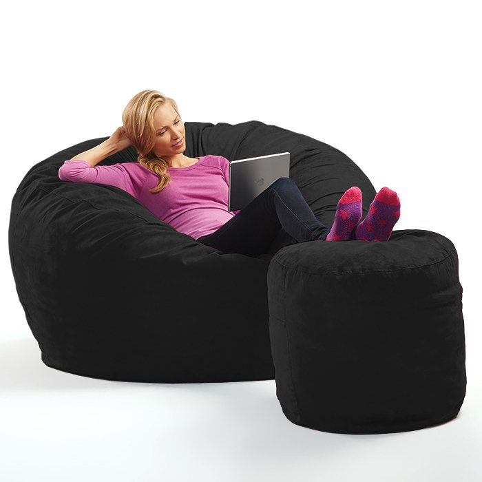 Theatre oversized Beanbag chair with ottoman.