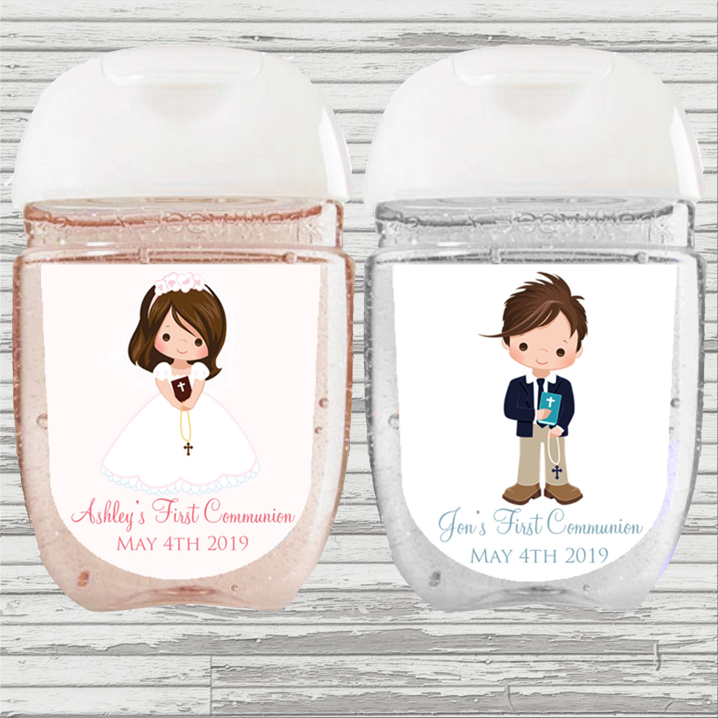 First Communion Favor Hand Sanitizer Label Digital File Girl And