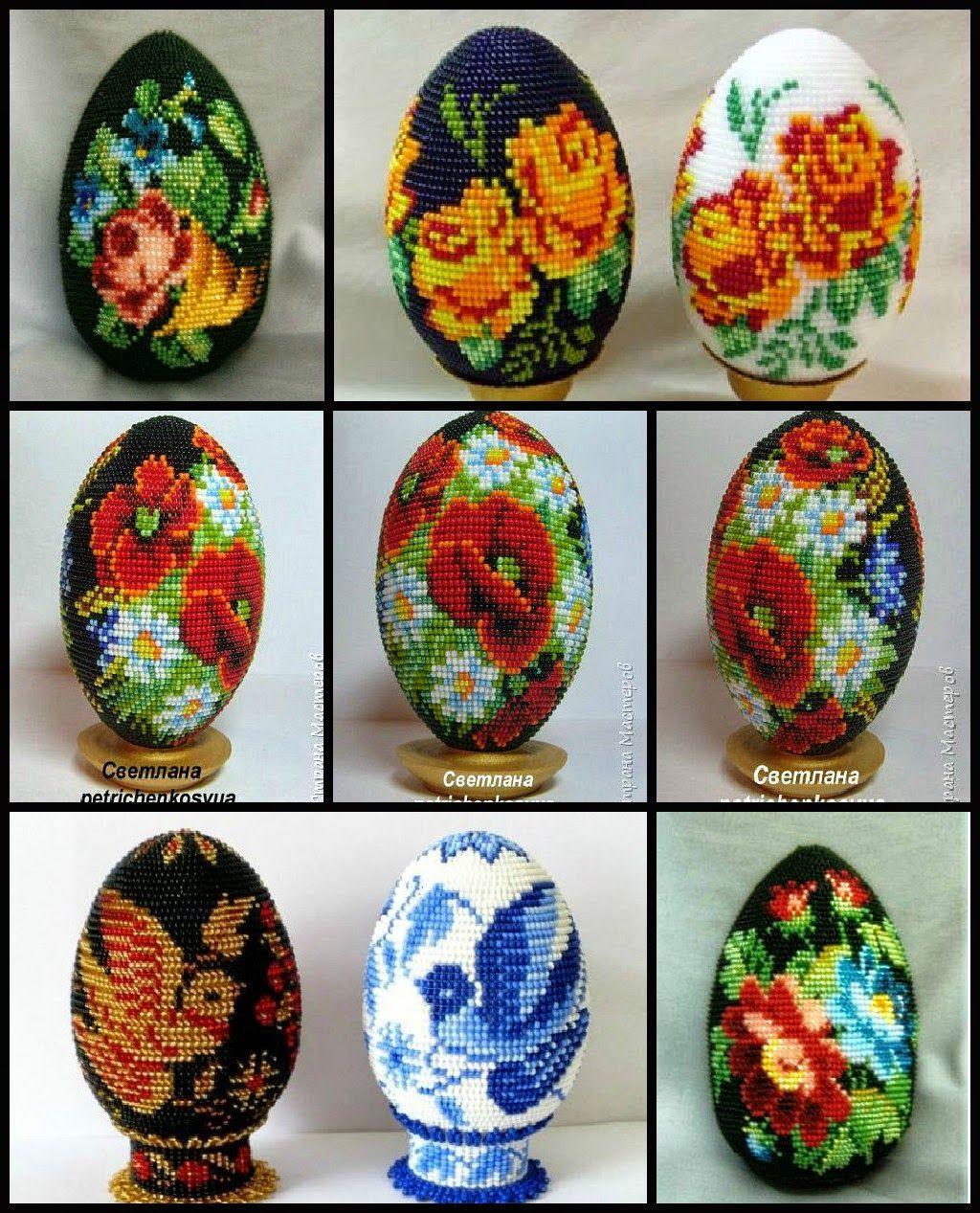 Пасхальное яйцо из бисера со схемами фото 832