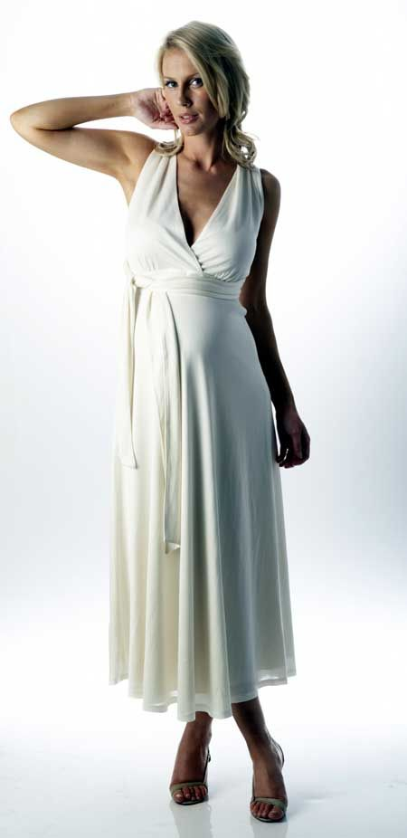 Maternity wedding dress for pregnant brides made of satin in a ...