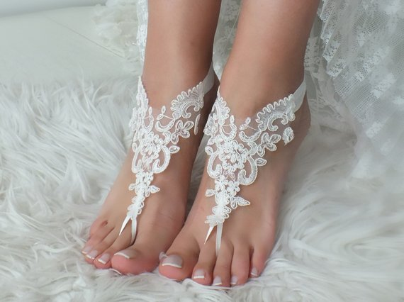 23b1b0ba0dd1 White or ivory Beach wedding barefoot sandals wedding shoes prom party lace barefoot  sandals bangle