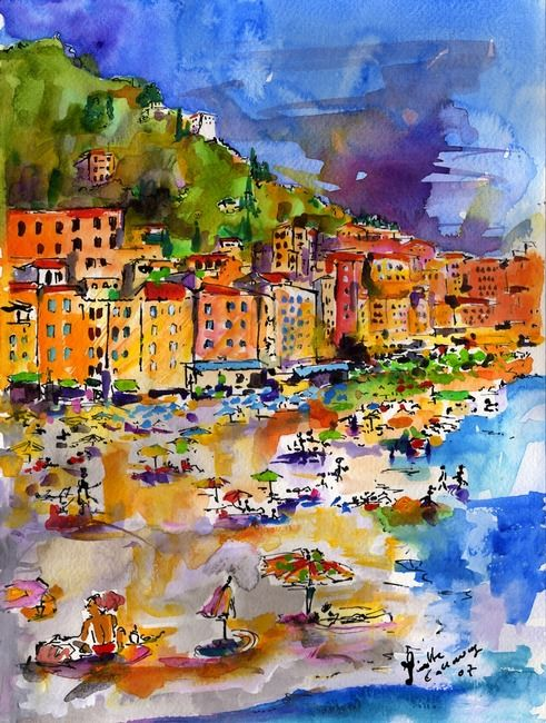 Camogli Beach Italy People On Beach By Ginette Callaway Italy
