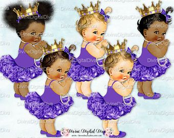 Princess Ballerina Purple Tutu Gold Crown Pearl Necklace Vintage Baby Girl | 3 Skin Tones | Arm Extended | Clipart Instant Download