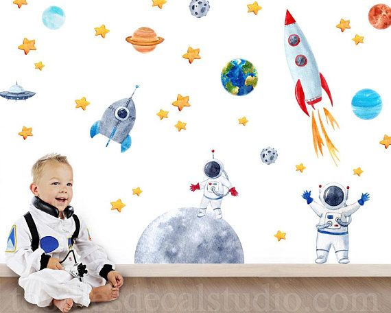 Space Wall Decal Astronaut Wall Decal Space Wall Decals Rocket