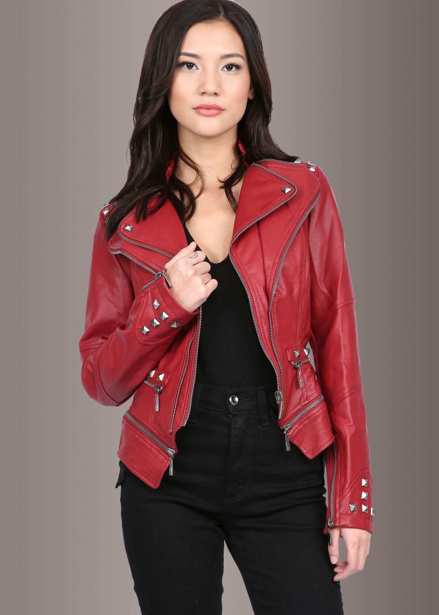 This rocking red studded Punk style PU faux leather moto