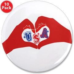 "Love USA 3.5"" Button (10 pack)> Hand Heart USA> Victory Ink Tshirts and Gifts"