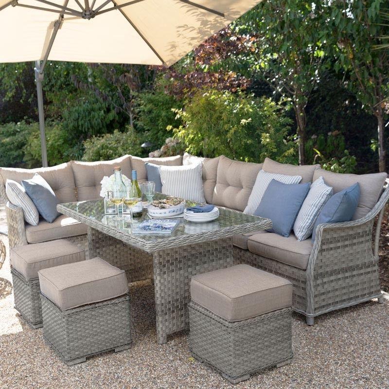 Oyster Rattan Corner Sofa Dining Set Outdoor Patio Decor Comfortable Patio Furniture Backyard Furniture
