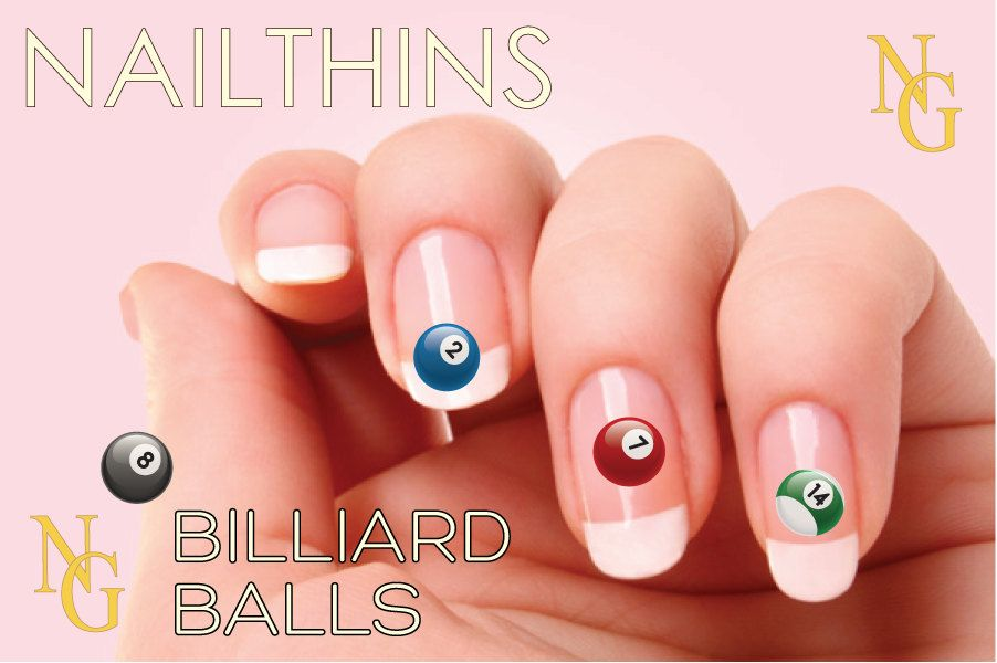 BILLIARD BALL Nail Decal Pool ball Nail Art by NAILTHINS on Etsy ...