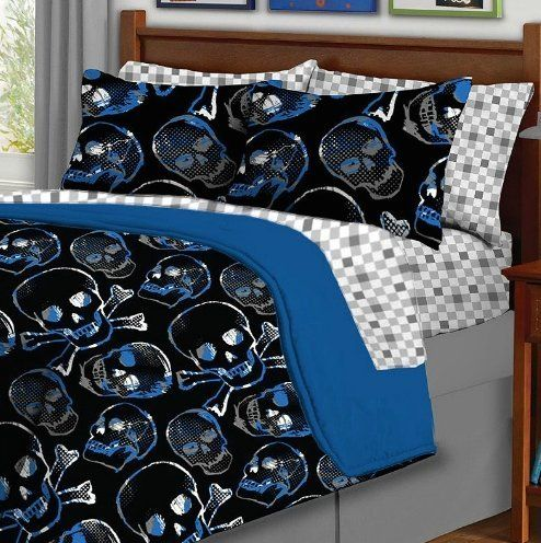 5pc boy blue black skull gothic twin comforter set 5pc bed in a bag u003eu003e