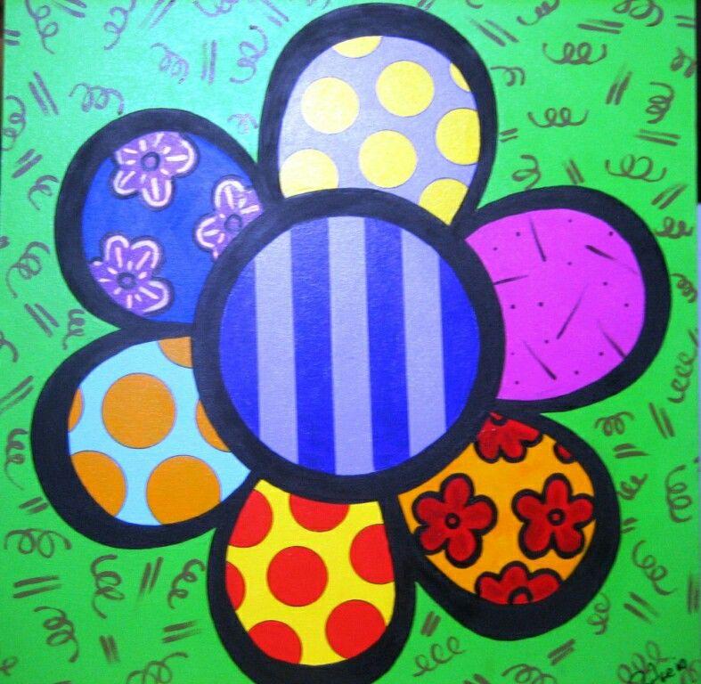Power flower releitura de romero britto desen pinterest coloriage fleur coloriage ve fleurs - Coloriage fleur britto ...