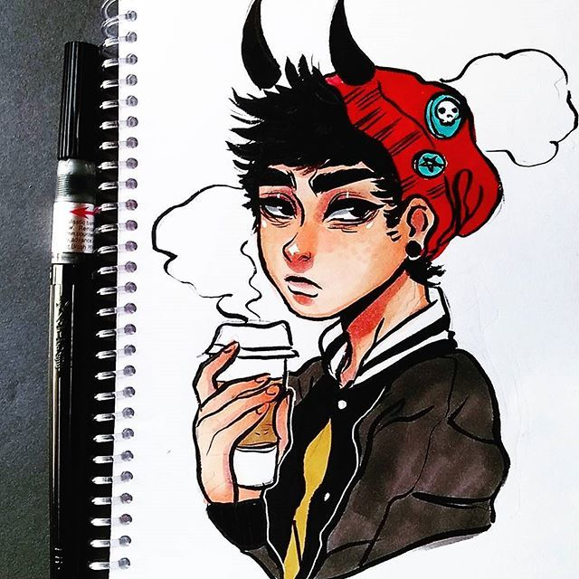 ok i fucked up the hand but here is a boy sketch drawing doodle marker sketchbook copic promarker