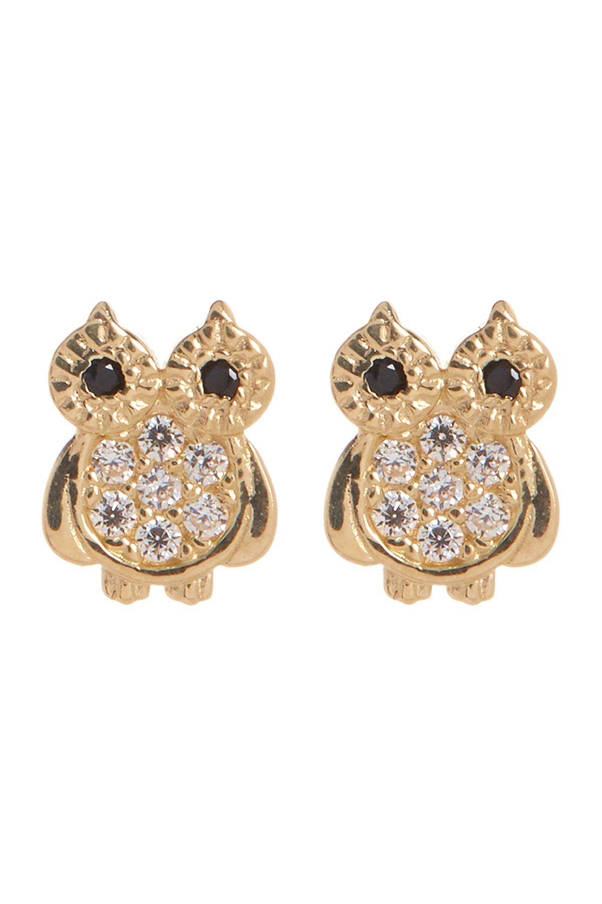 Candela 14K Yellow Gold CZ Body Owl Stud Earrings