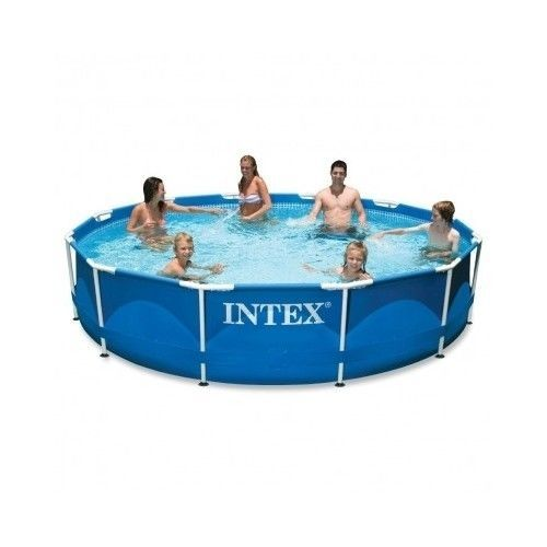 Intex 12 Ft X 30 Inch Metal Frame Above Ground Swimming Pool Set Backyard Deck Best Above Ground Pool Intex Portable Swimming Pools