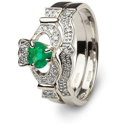 Irish Engagement Rings With Emeralds Gold Emerald Ring 14l68wed Pictured Matching Wedding
