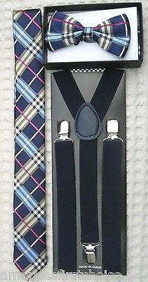 hanky and gray suspenders Combo Mens Plaid Bow ties