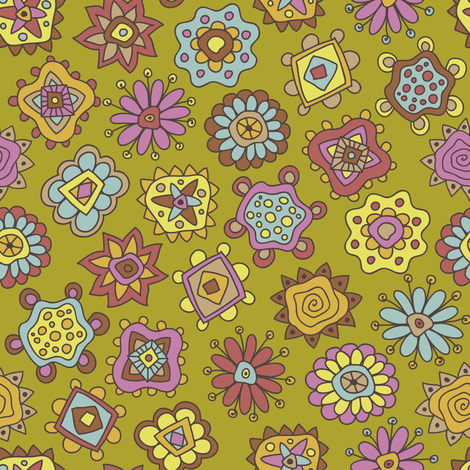 """""""Boho Carnival"""" fabric by Groovity-available at Spoonflower.com, designed by Mary Tanana"""