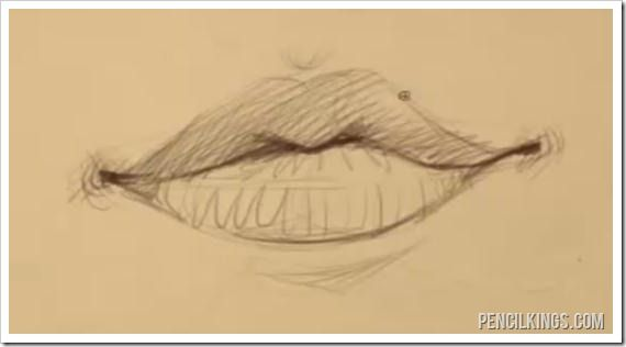 female mouth drawing example