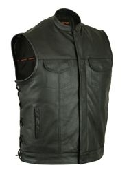 Anarchy style leather motorcycle vest with hidden zipper, gun pockets and side laces. #leathermotorcyclevest #soaleathervest #sonsofanarchy #leatherbikervest