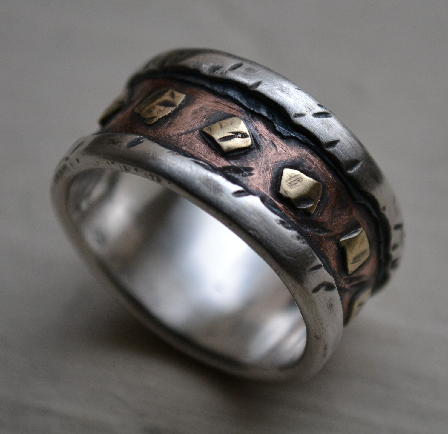 mens wedding band - rustic fine silver copper and brass - handmade