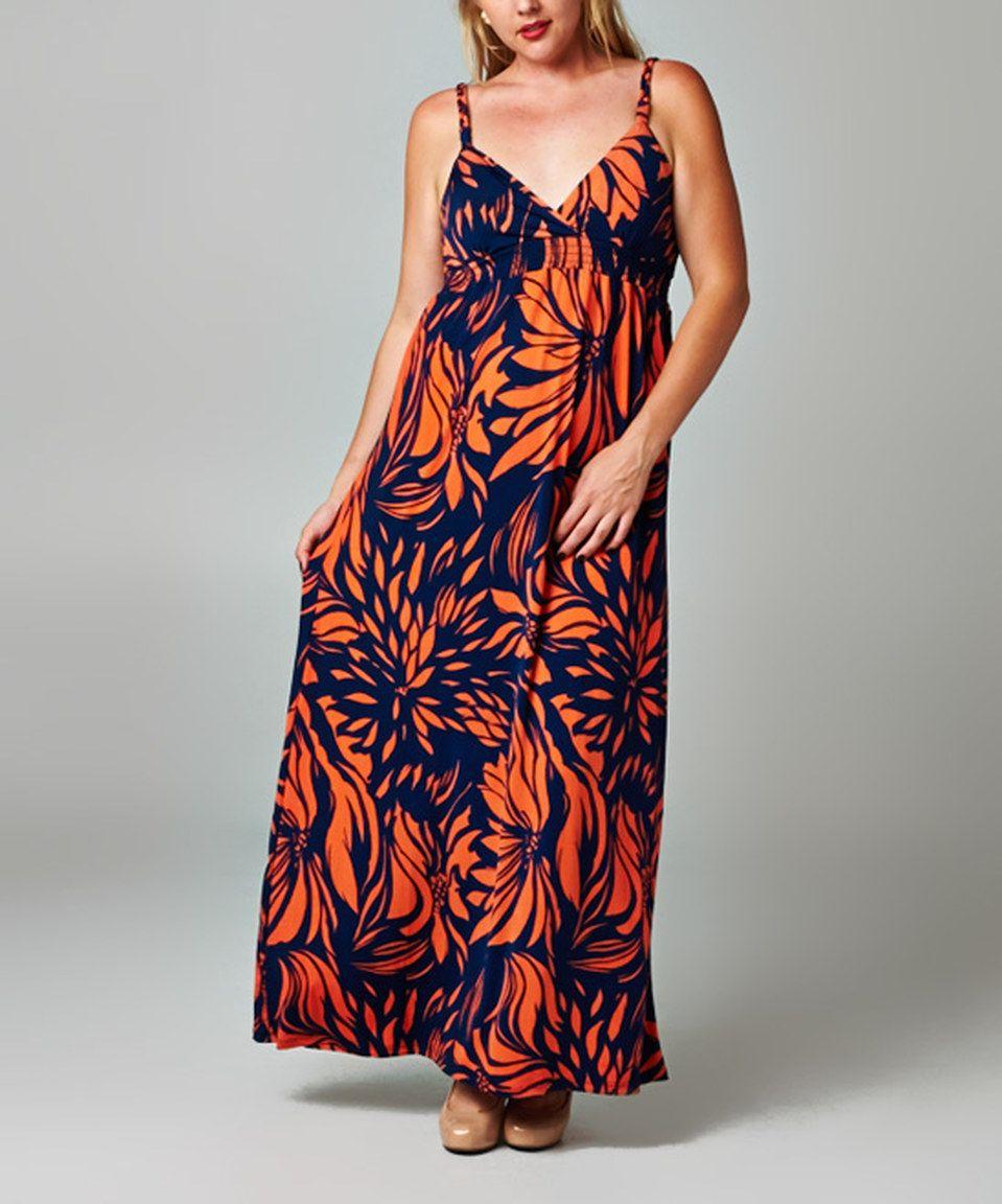 Look at this #zulilyfind! Christine V Navy & Orange Floral Surplice Maxi Dress - Plus by Christine V #zulilyfinds