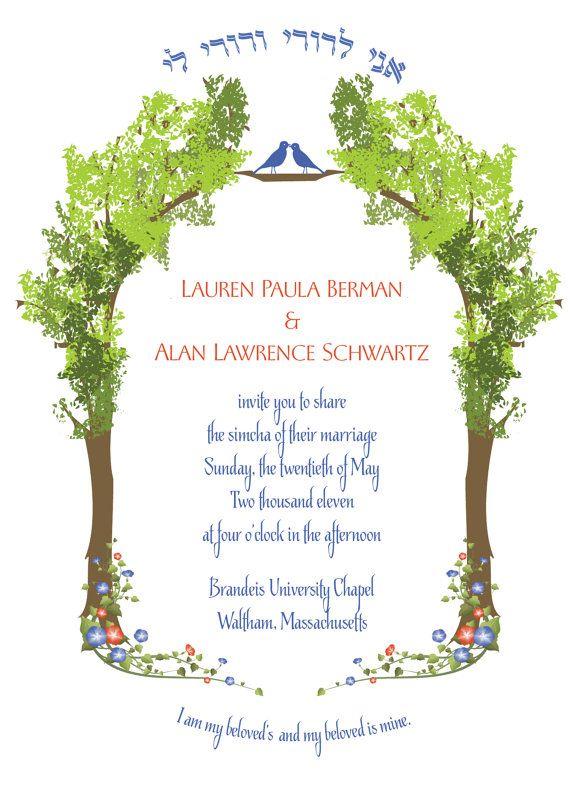 I like the idea of this invitation ringalingdingdong wedding tree of life jewish wedding invitation hebrew ani ldodi pdf version stopboris Choice Image