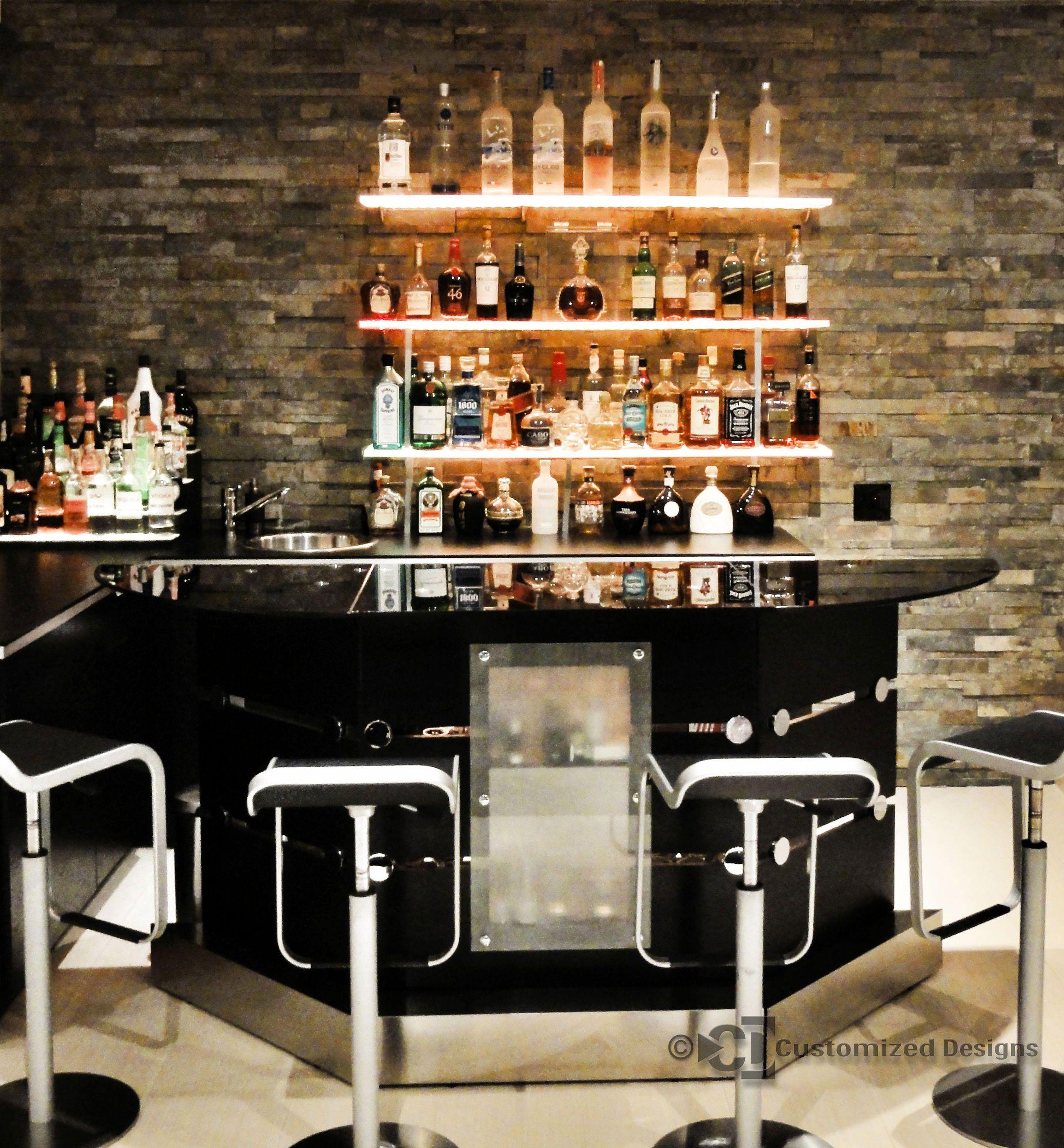 Led Lighted Shelves Back Bar Shelving For Home Bars