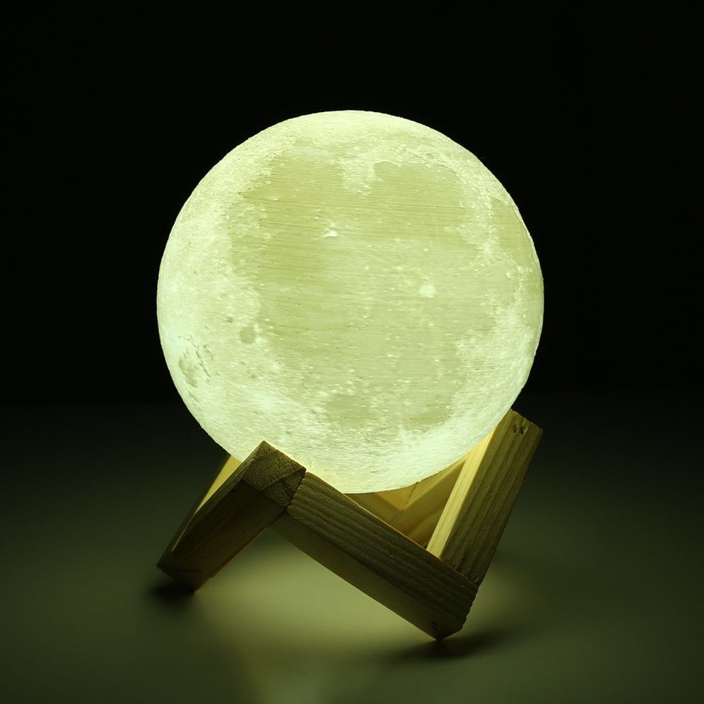 3d Printing Touch Two Color Lunar Light Smart Home Led Moon Light With Solid Wood Bracket Night Light Led Night Light Night Lamps