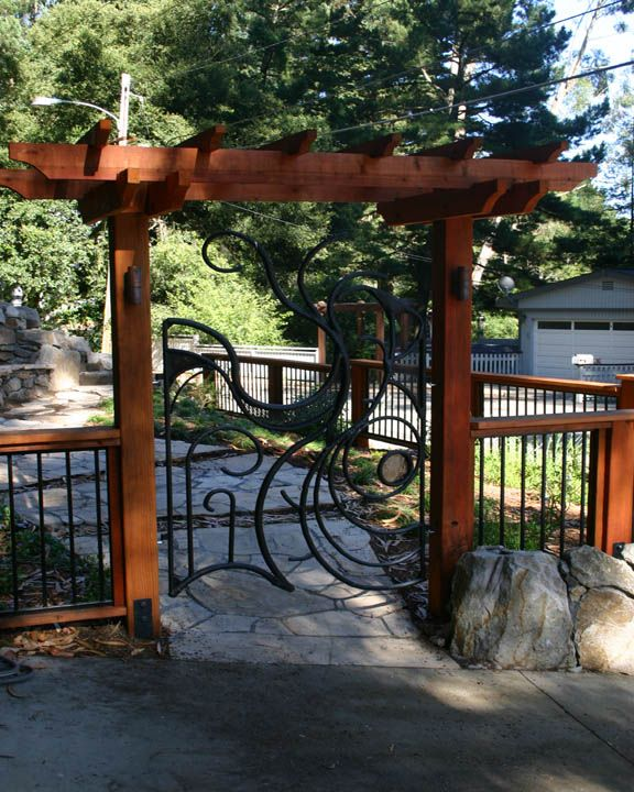 Wood Amp Iron Fence With Simple Entry Arbor And Custom Iron
