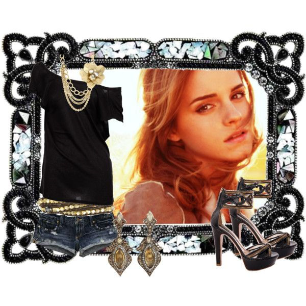 emma waston by pwejones on Polyvore featuring polyvore fashion style Alexander Wang Abercrombie & Fitch Etro Sevan Jessica Simpson Chan Luu Borghese Emma Watson