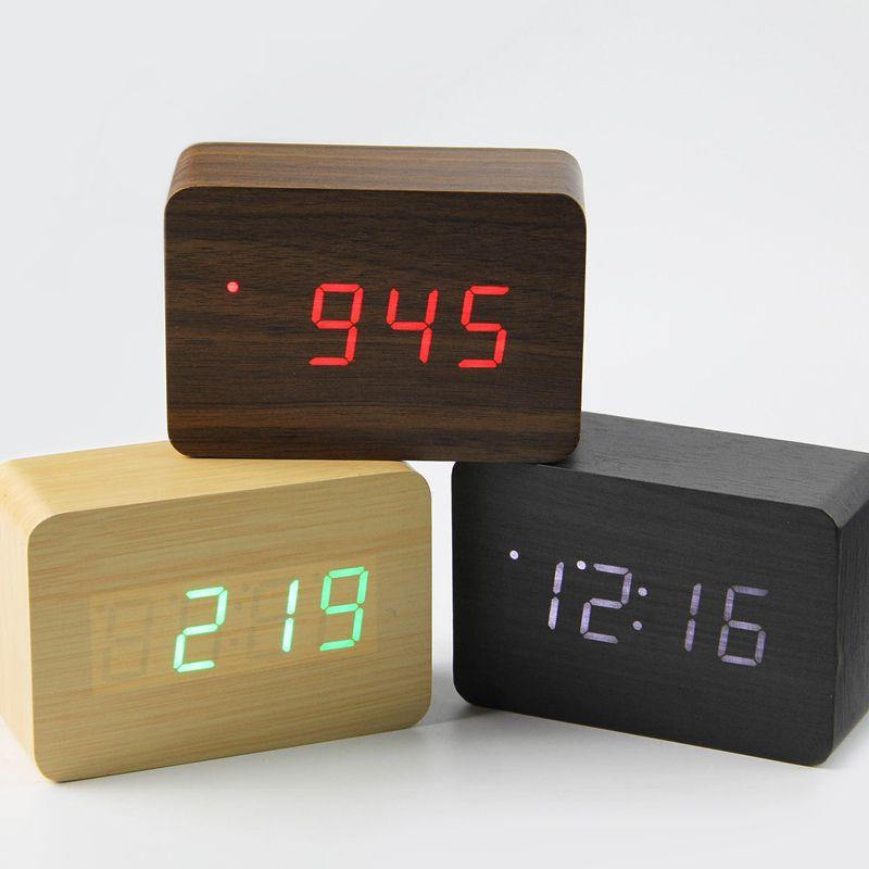 2017 Small Cute Led Wooden Digital Clock Despertador Sound Control