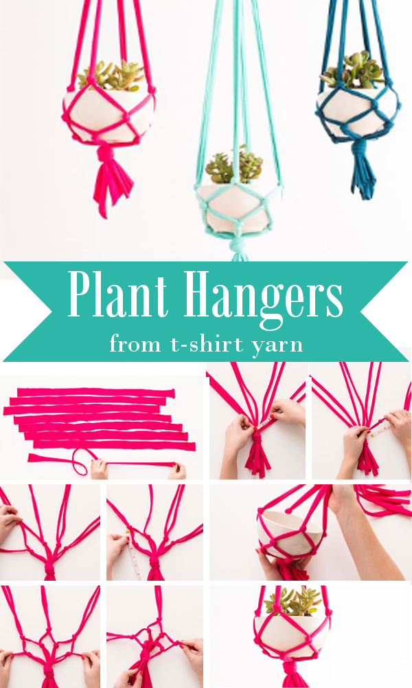 Plant Hangers From T-Shirt Yarn #diyyarnholder