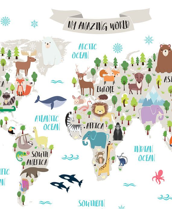Nursery printable animal world map kids world map poster nursery nursery printable animal world map kids world map poster nursery world map baby room map kids map art animal nursery decor unique baby gift gumiabroncs Image collections