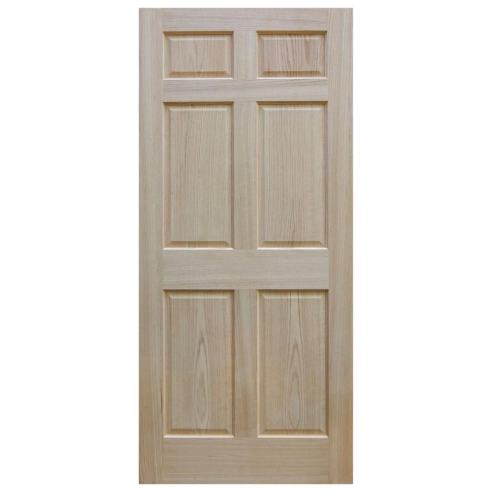 Evermark 28 In X 80 In 6 Panel Unfinished Red Oak Wood Interior Door Slab 1002001 T Doors Interior Interior Sliding Barn Doors