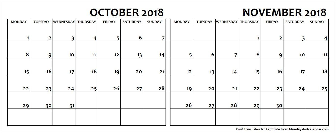 October and November 2018 Calendar Starting Monday October
