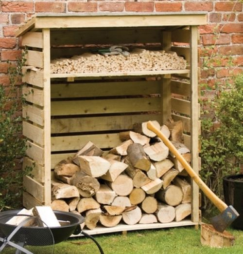 Nice Wooden Log Store Shed 4 Ft W X 2 Ft D Wood Fuel Dry Aired Shelf Outside