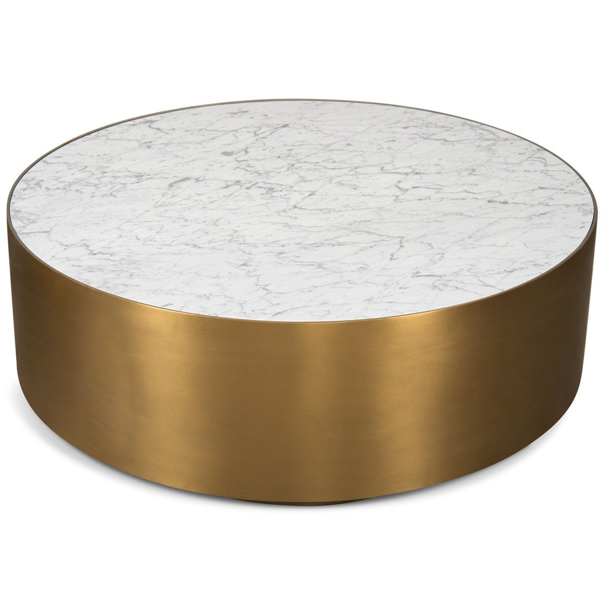 Ibiza Brushed Brass Coffee Table with Carrera Stone Top