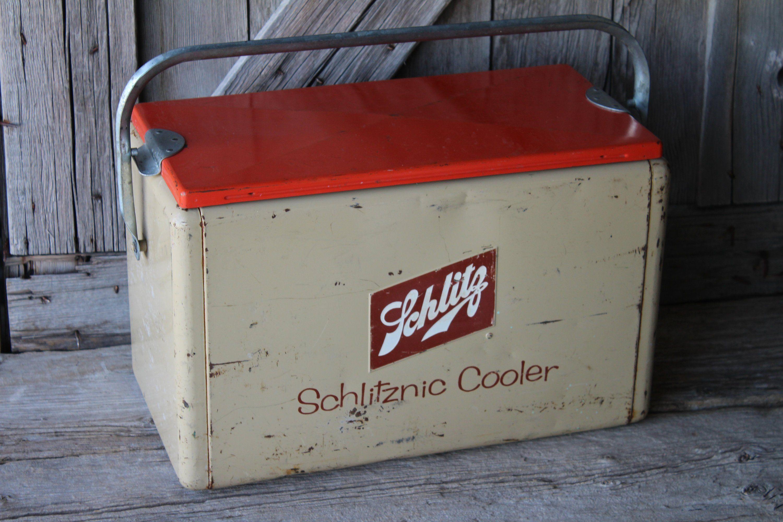 Mid Century Schlitz Beer Schlitznic Cooler Vintage Metal Etsy