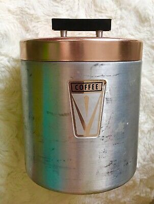 Photo of Vintage Mid-century Aluminum and Copper Coffee Canister Black Rectangle Handle  | eBay