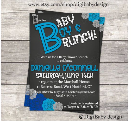 Brunch baby shower invitation in chalkboard with blue flowers and