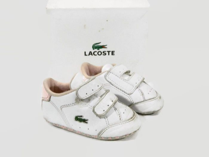 340c7cee40ae Lacoste Baby Girl Shoes Crib Size 3 White Leather Sneaker Pink Slip-on  Infant  Lacoste  CribShoes