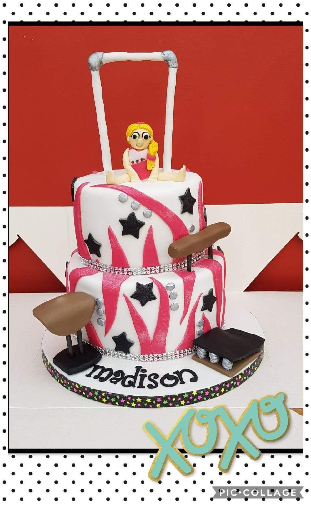 Gymnastics Themed 2 Tier Birthday Cake