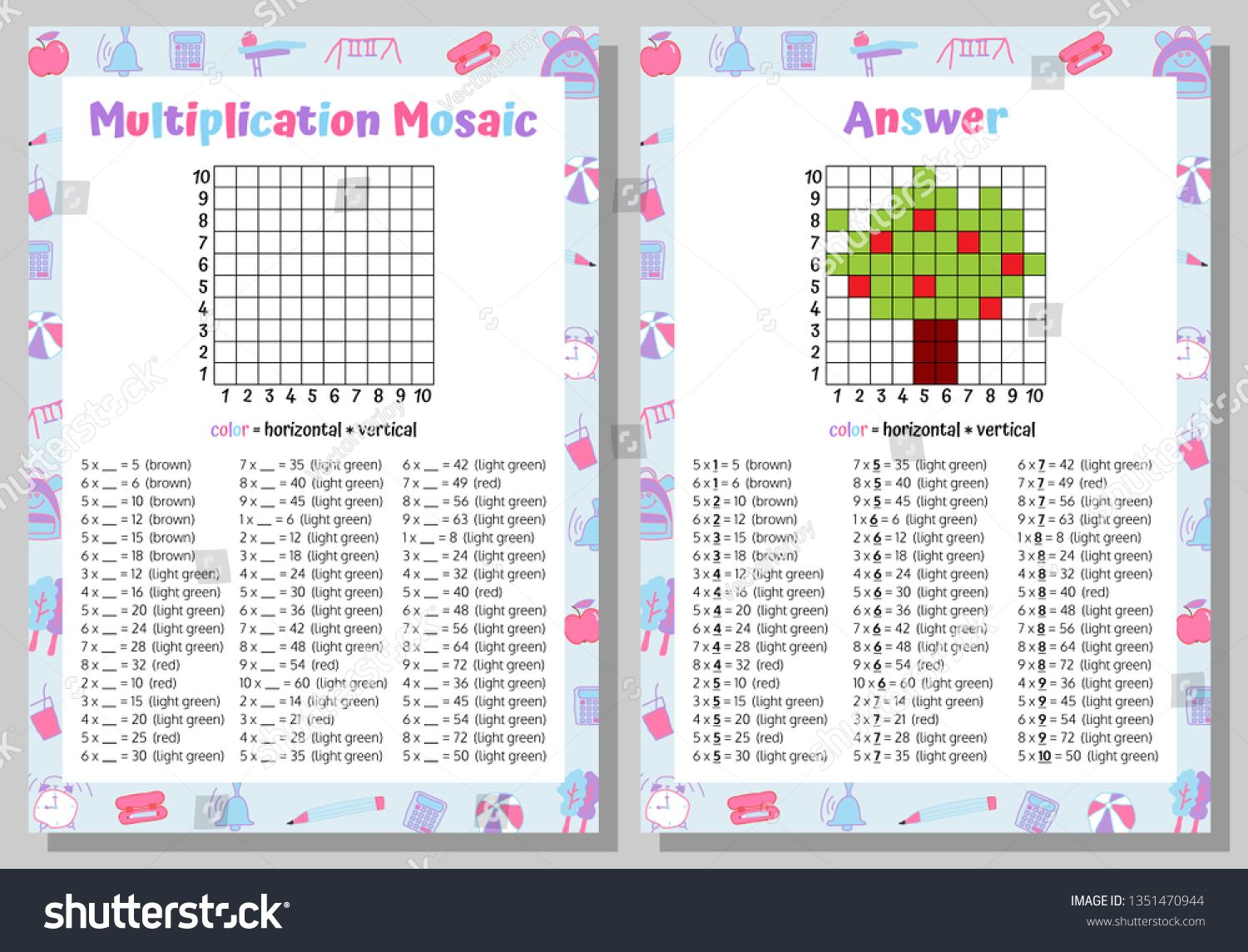Multiplication Mosaic Math Puzzle Worksheet Educational Game Coloring Book Page Mathematical Game Pixel Art Vector Ill Maths Puzzles Math Mathematics Games [ 1144 x 1500 Pixel ]