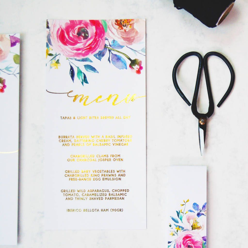 Gold Foil Floral Watercolour Wedding Invitation Pack Watercolor