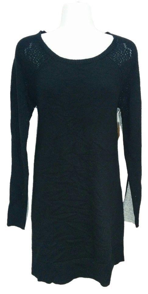 Rachel Roy black & gray wool & cashmere sweater dress tunic, Medium #2072 #