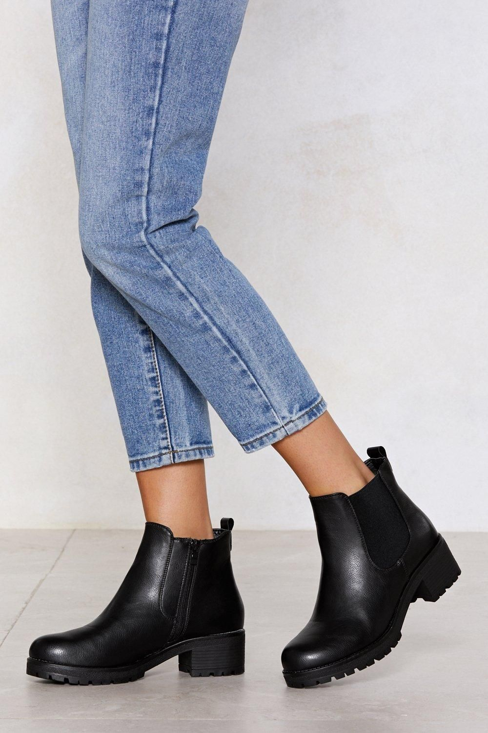 402c1e29555a The Follow in My Footsteps Boot comes in faux leather and features a round  toe