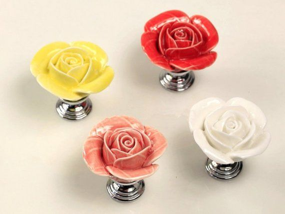 pink rose dresser knob drawer knobs pull floral purple red yellow rh pinterest com