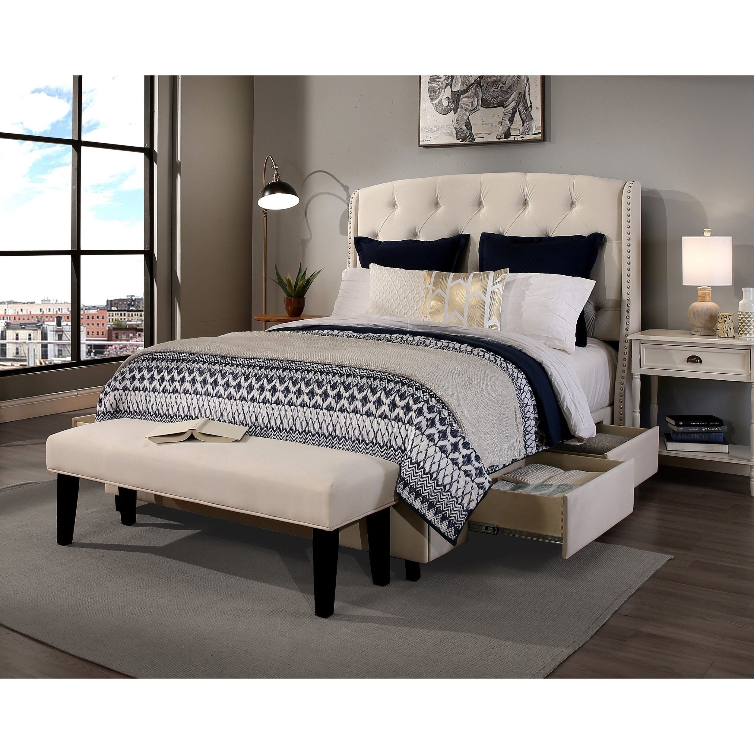 Republic Design House Queen Size Peyton Ivory Headboard Storage Bed And Bench Collection 52 Inch Only Cream