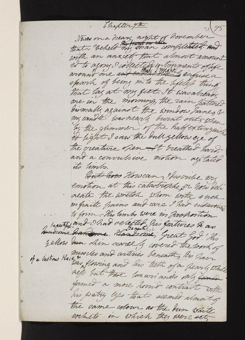 Explore the original manuscripts from 'Frankenstein' in ...