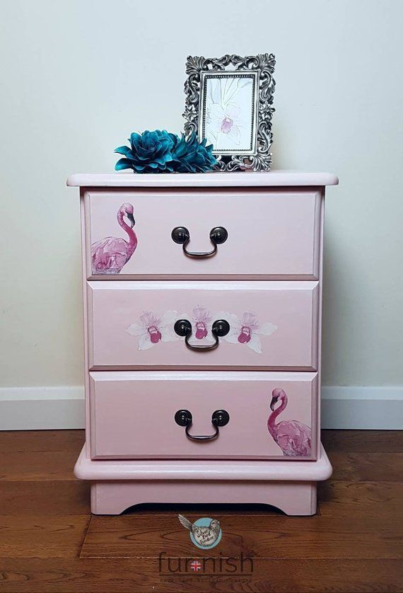 Pink Bedside Table: SOLD Bedside Drawers With Flamingos And Flowers, Pink